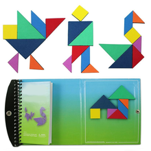 150 Puzzles Magnetic Tangram Kids Toys Challenge Your IQ a Montessori Educational Magic Book Suit for 3-100 Years Old(China (Mainland))