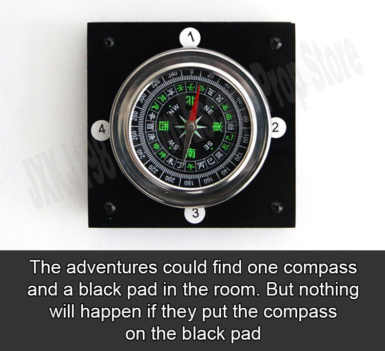 magic compass adventurer escape room game device prop forTakagism get hidden clues via compass to run out real life room escape