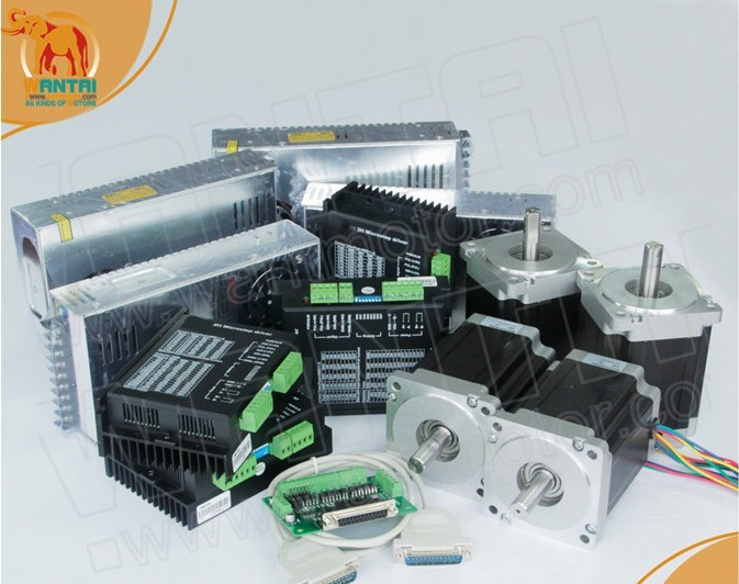 Good Factory! Wantai 4 Axis Nema34 Stepper Motor WT86STH118-6004A 1232oz+Driver DQ860MA 80V 7.8A 256Micro Plastic Metal Milling<br><br>Aliexpress