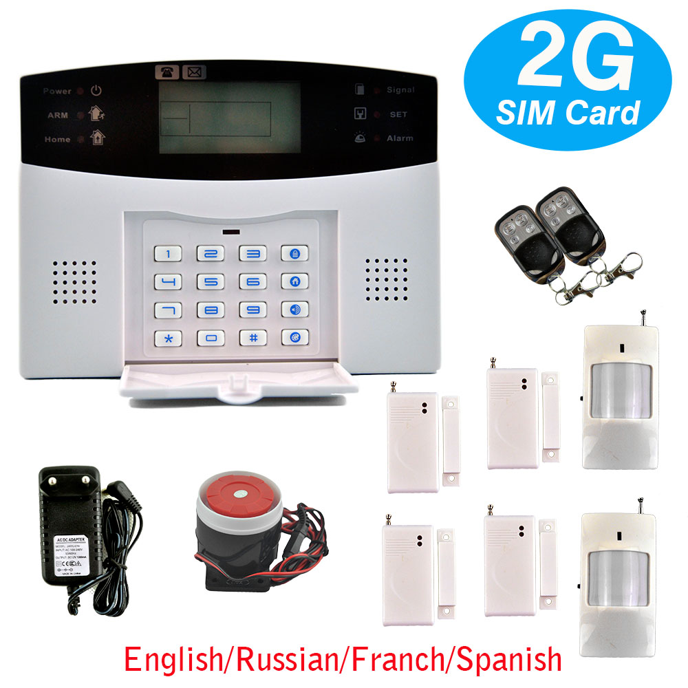 4pcs Wireless Door Sensors 433MHZ Security Home GSM Alarm Systems LCD Display Wired Siren Kit Spanish Voice Prompt(China (Mainland))