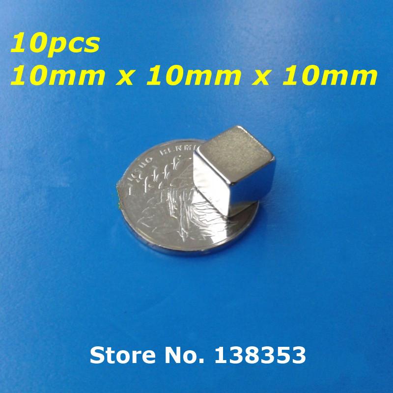 10pcs Bulk Super Strong Neodymium Square Block Magnets 10mm x 10mm x 10mm N35 Rare Earth NdFeB Cuboid Permanent Magnet