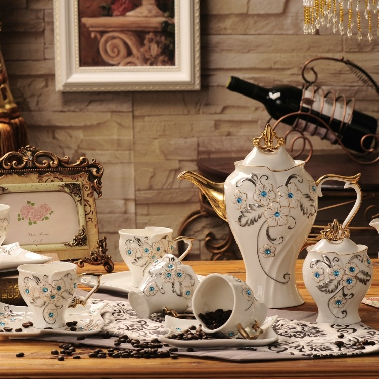 Fashion tea sets coffee Sets 15 pieces high quality ceramic coffee cup and saucer suit
