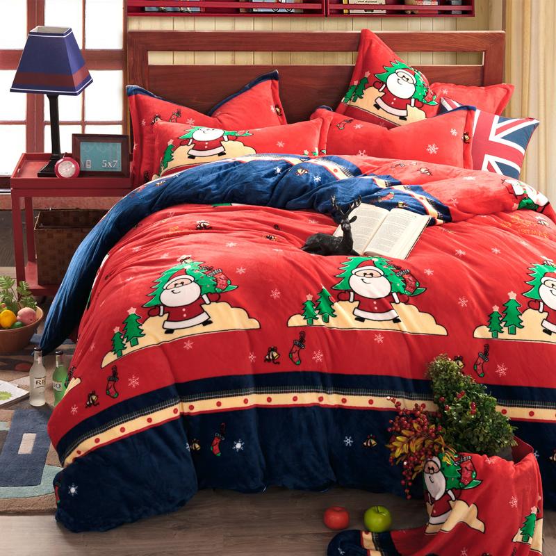 Duvet Cover Set Flannel 4pcs Bedding Set Bed Sheet Set