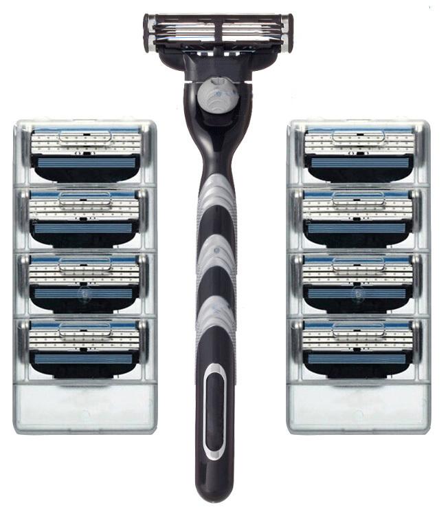 High quality 8pcs razor Blades&Razor holder shaving razor bladed set shaver shaving razors blades for men in original package(China (Mainland))