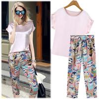 2016 Summer Womens Pink Blouse Cartoon Owl Printed Pants Set Silk Satin Batwing Sleeve Tops Chiffon Harem Calf-Length Pants Suit