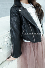 2014 Autumn Girls Fahion Style Girl PU Jacket Children Leather Coats For Girl Outerwear Kids 3