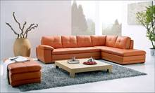 Free Shipping Modern Sofa, made with Top Grain Leather L Shaped Corner Sectional Sofa Set with Ottoman, Longue Leather Couch(China (Mainland))