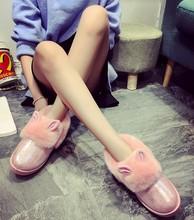 Botines mujeres 2016 invierno nieve botas de piel de algodón acolchado zapatos planos orejas de conejo botas cortas moda zapatos de mujer botas mujer(China (Mainland))
