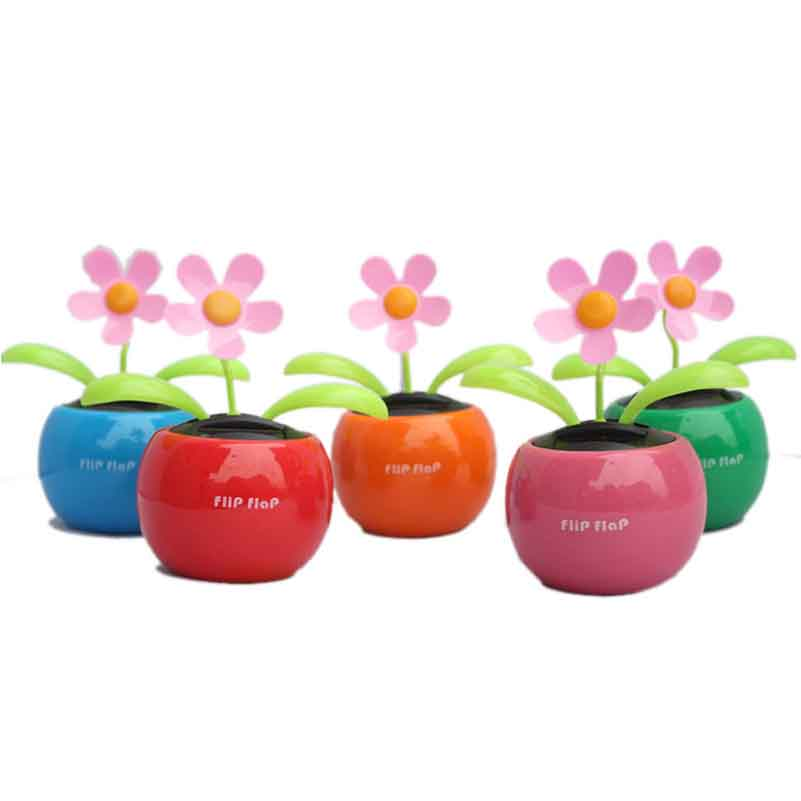 Car Sun flower ornaments Automatic shaking head solar apple flower car seat car ornaments creative 1 set(China (Mainland))