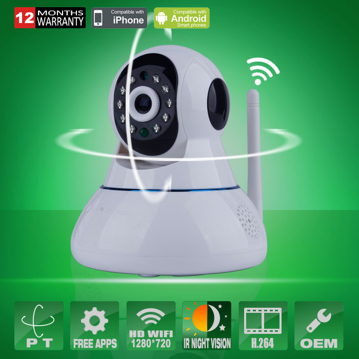 Pan / Tilt Wireless IP Camera Wifi 720P HD CCTV For Home P2P Security Surveillance Two-Way Audio 32GB SD Card Mobile APP(China (Mainland))