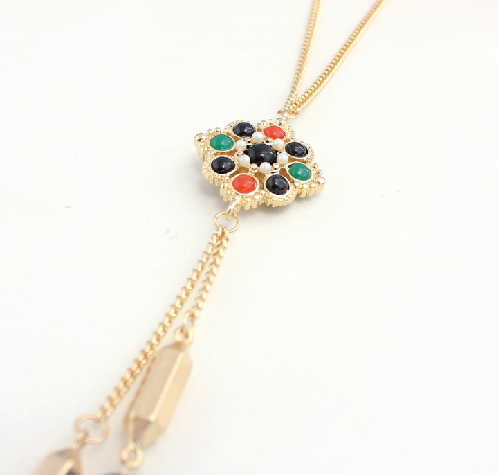 2015 generic gem long necklace fashion jewelry wholesale marketing and colorful woman free shipping Christmas gifts(China (Mainland))
