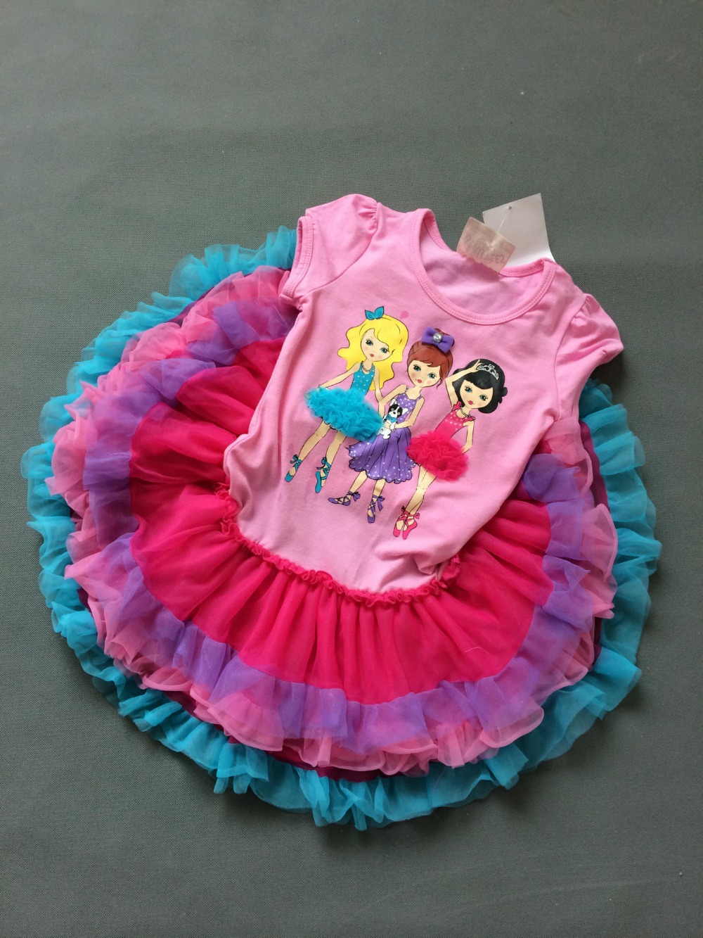 ROCOO original beautees 6pieces/lot 2-4 girls yarn decoration tulle summer dress Super nice 3D yarn tutu dress<br><br>Aliexpress