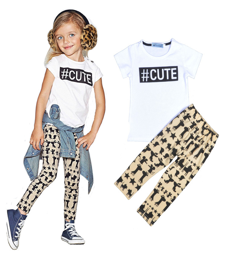 2016 summer new kids little girls outfit sets t-shirt tops+long pants cute animal toddler suit childrens clothing 2pcs/set<br><br>Aliexpress