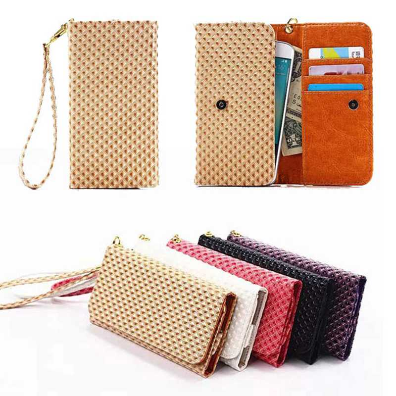 Grid Grain Wallet Bag Flip Cover Case For Samsung Galaxy A3 2016 A310 A3100 / A5 2016 A510 A5100 Universal Phone Pouch (L)