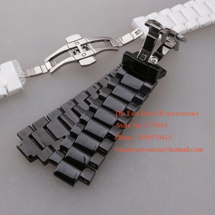 Луг ремешок для часов выпуклые рот керамические часы группа белый черный 19 мм 22 мм ремешок бабочка пряжки браслет группа для AR1421   26