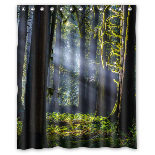 Nature Sunrise Forest Trees Custom Design Bath Waterproof Shower Curtain Bathroom Products Curtains 48x72, 60x72, 66x 72 inches(China (Mainland))