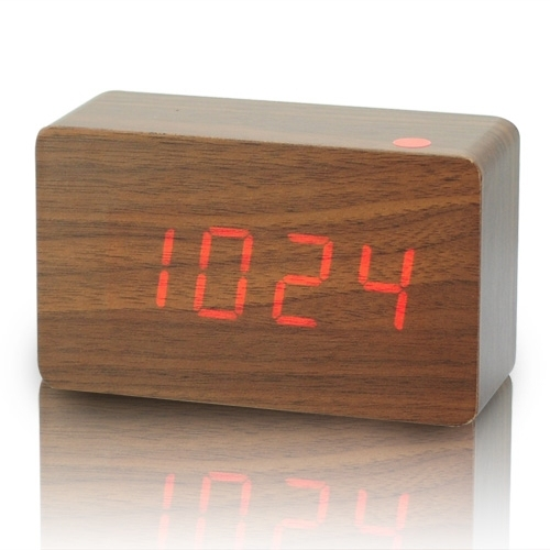 Fashion cuboid Red LED Wood Wooden Digital Alarm Clock DC input/USB/battery+Temperature voice control function for home use