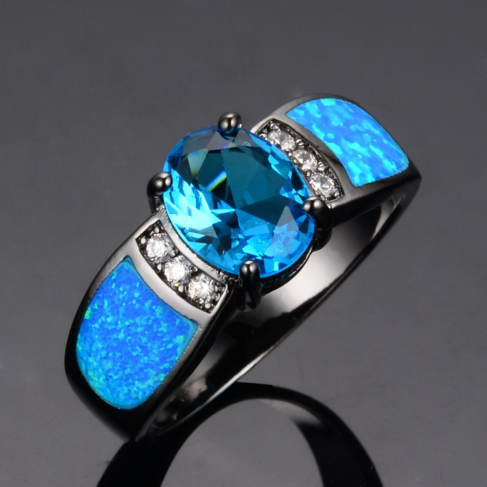 Sapphire jewelry Women Wedding Ocean Blue Opal Rings 14KT Black Gold Filled F