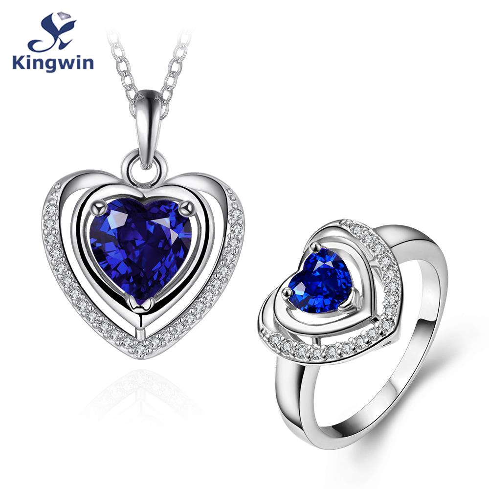 Fine 18k white gold plated semi-precious synthetic sapphire blue cz diamond love wedding bridal jewelry sets heart necklace ring