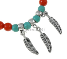 Free shipping!!!Natural Coral Bracelet,Unique, with turquoise & Zinc Alloy, Feather, antique silver color plated, red, 6mm(China (Mainland))