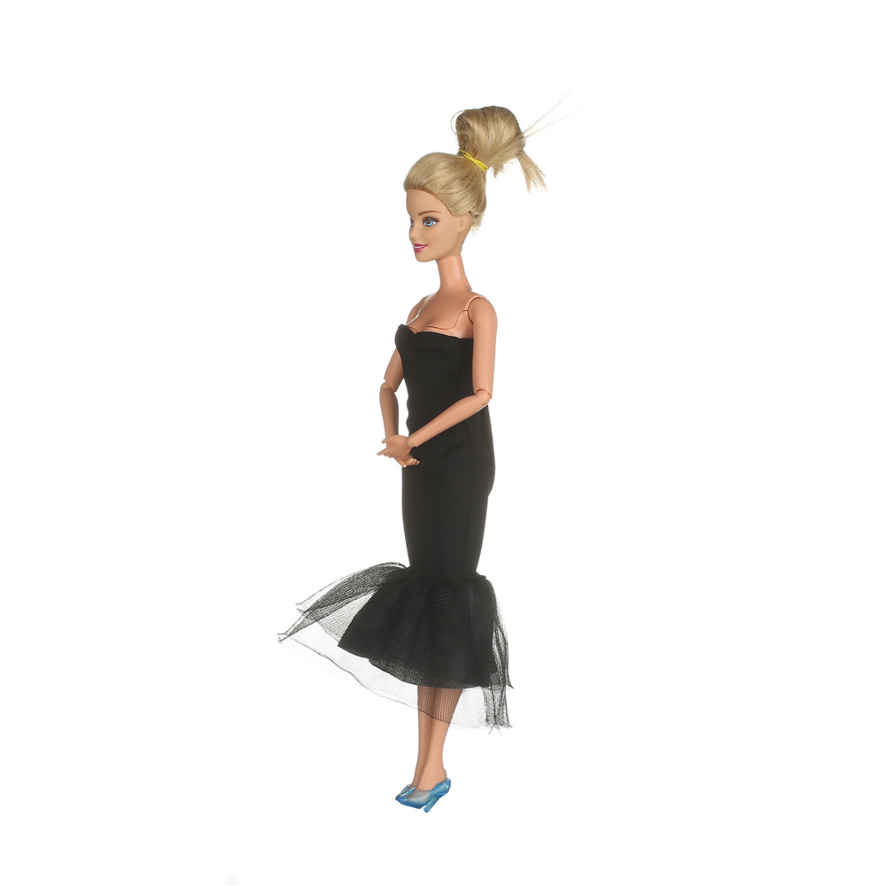 barbiee doll equipment, Barbiee garments clothes gown magnificence elegant black gown on the pink carpet AB30
