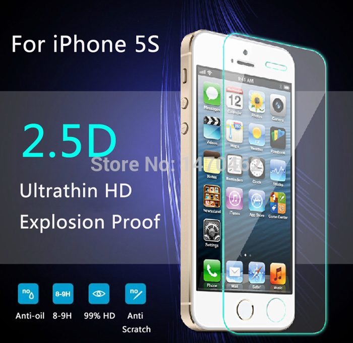 For iPhone 4 4s 5 5s 5c Explosion-Proof Premium Tempered Glass 2.5D 9H LCD Clear Screen Protector for iPhone 6 6s 6plus 6s plus