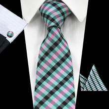 RBOCOTT новые мужские 8 см классические галстуки новинка геометрический Шелковый галстук, носовой платок, запонки галстук с рисунком «Шотландк...(China)