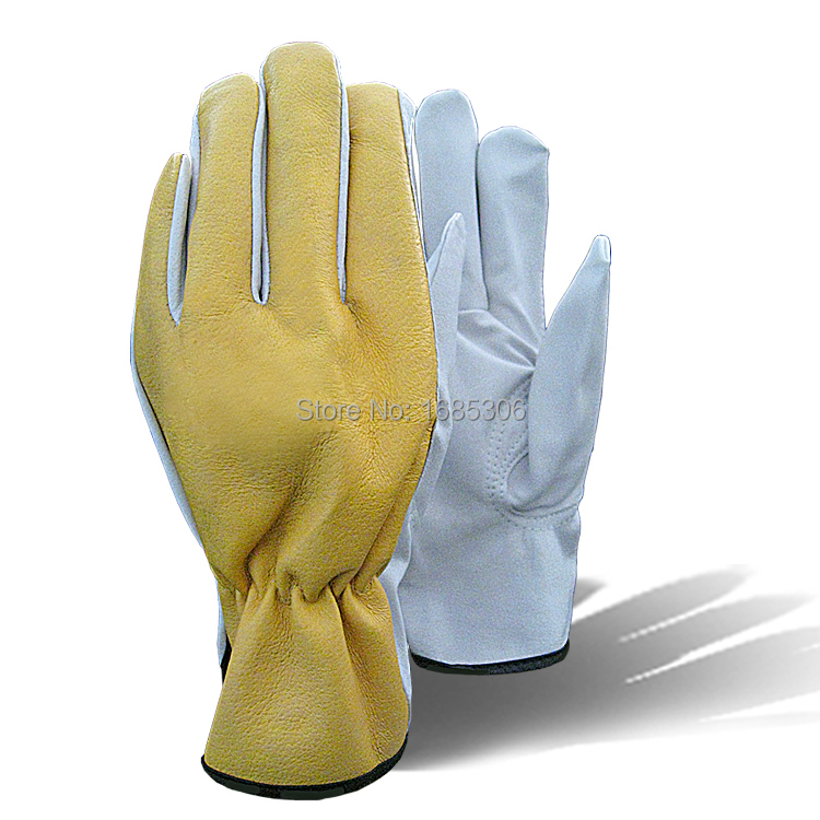 2015 Yellow leather work gloves hot sale welder gloves personal protective equipment(China (Mainland))