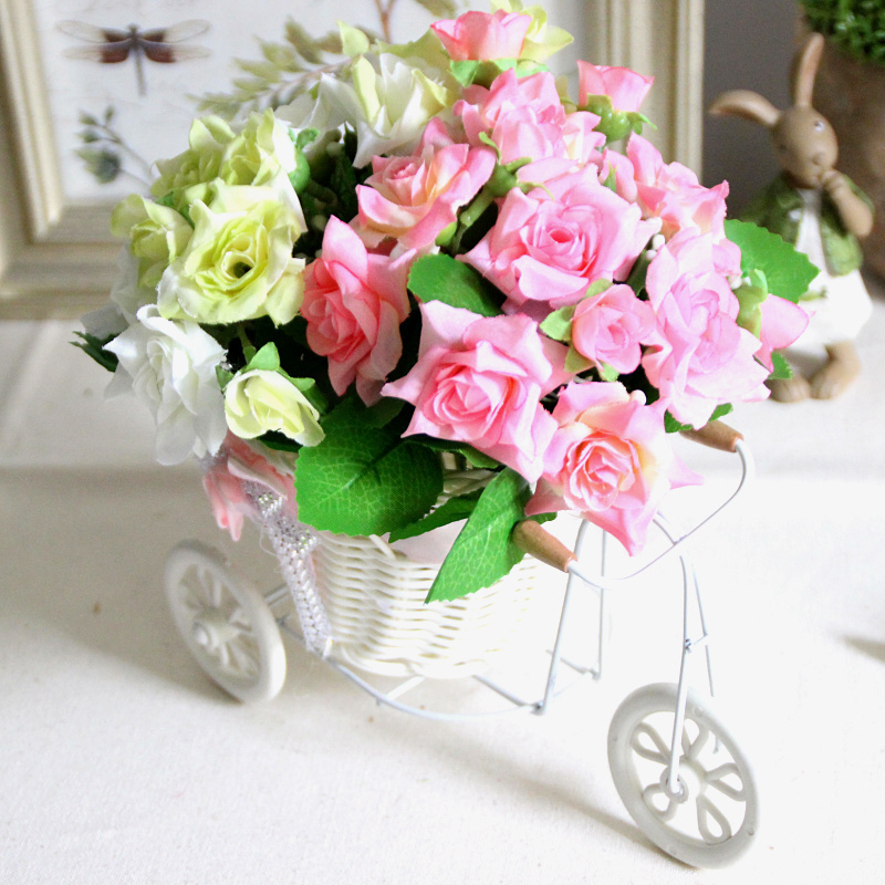33 Types! Artificial Silk Roses/Daisy + Tricycle Rattan Storage Basket Vase Set Home Decoration Wedding Decorative Flowers(China (Mainland))