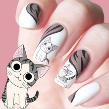 Fashion Lovely Sweet Water Transfer 3D Grey Cute Cat Nail Art Sticker Full Wraps Manicure Decal Tips DIY