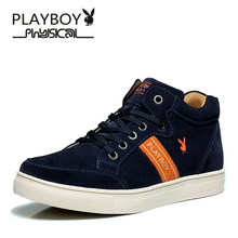 PLAYBOY Discounts Genuine Leather Shoes 2016 Fashion High Top Design Men Shoes Breathable Casual Shoes winter men cotton shoes(China (Mainland))