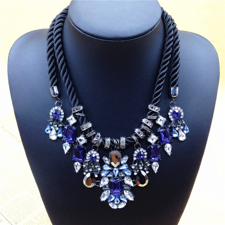 Fashion jewelry blue rhinestone black rope necklaces for Costume jewelry for evening gowns