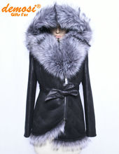 Factory direct supplier of 100% natural winter 2015 women new fashion Slim fox fur coat collar Suede fold printing stitching(China (Mainland))