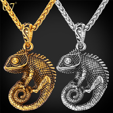 Buy U7 Statement Necklace Men Chain Kpop Jewelry Gold Color Stainless Steel Chameleon Dragon Animal Necklaces & Pendants P594 for $5.98 in AliExpress store