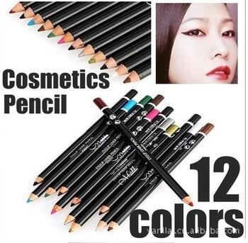 1 set 12 color cosmetics makeup makeup pen eyebrow eye liner lip waterproof eyeliner pencil
