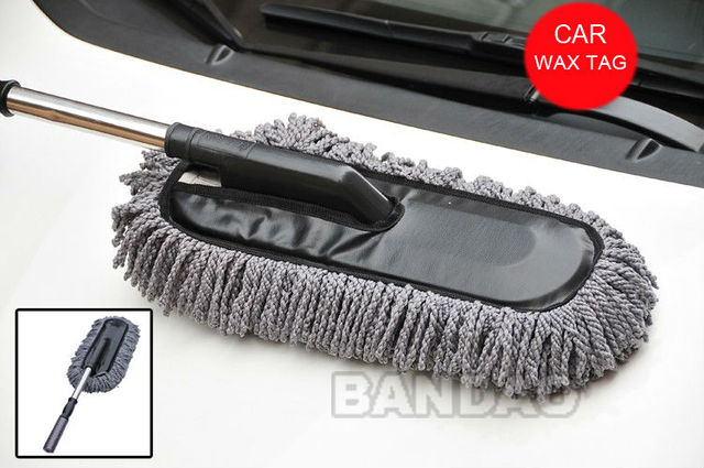 Car Thickening Retractable Type long Dust Brush Wax Drag Duster Cleaning Stainless Steel Handle Flat Cap car duster wax brush