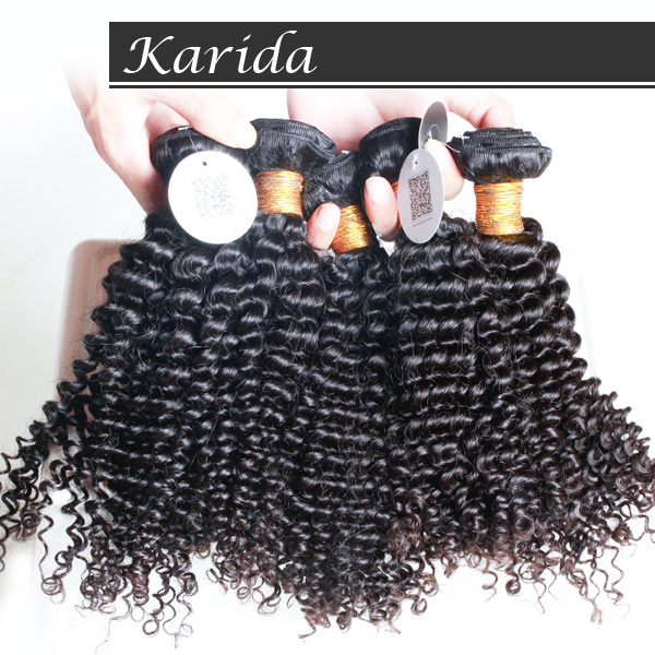 Unprocessed 6A grade virgin brazilian kinky curly hair, 10 pieces Full and thick brazilian remy curly hair karida hair extension<br><br>Aliexpress