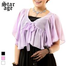 Buy L-3XL Plus Size Women Casual Chiffon Shawl Korean Style Ribbon Bow Ruffles Jacket All-Matched Small Coat Purple/Black/White 9611 for $15.20 in AliExpress store