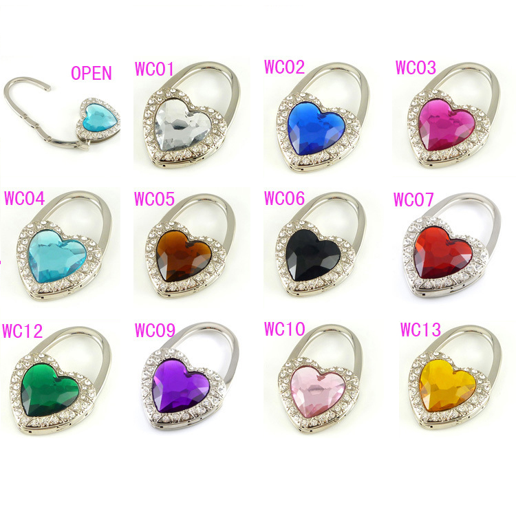 100 pcs/lot DHL&FEDEX Free shipping Bag hook Folding Bag Purse Hook Crystal bag Hanger Holder handbag hot sale(China (Mainland))