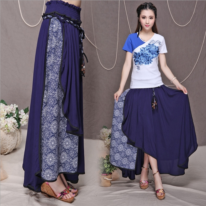 Model Women Chiffon Long Skirts Candy Color Pleated Maxi Women Skirts