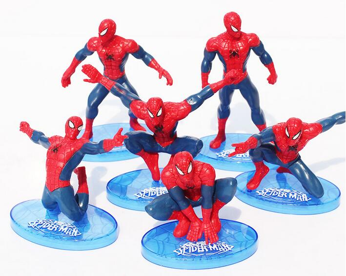 New hot sale 5pcs/ set anime figure PVC toy The Amazing Spider-Man different modeling 10CM Kids Gifts for Children free shipping(China (Mainland))