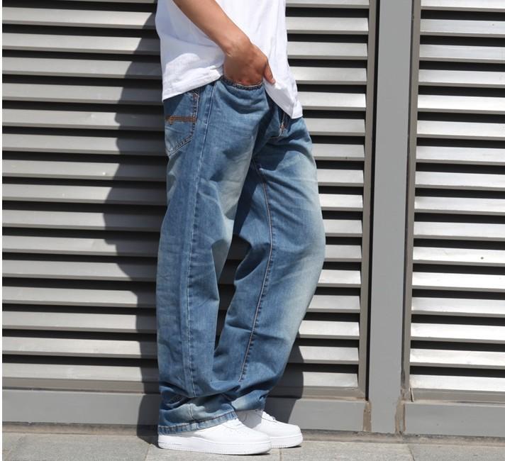 Скидки на Плюс Размер 30 32 34 36 38 40 42 (талия 118 см) европейский скейтборд брюки промывают джинсы для комфортного прямо размер мода