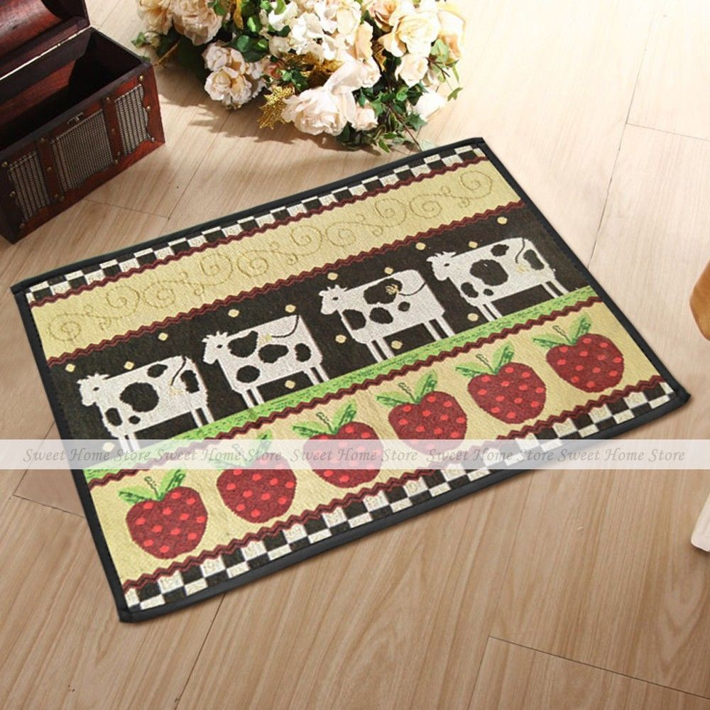 Yazi cow apple country style washable fabric kitchen rug for Country style kitchen rugs