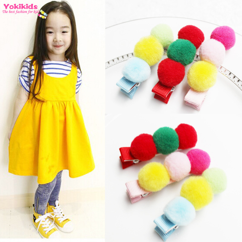 New Cute Baby Hairpins Mini Pastel Color Side Plush Round Ball Hair Clips Girls Barrettes Children Hair Accessories(China (Mainland))