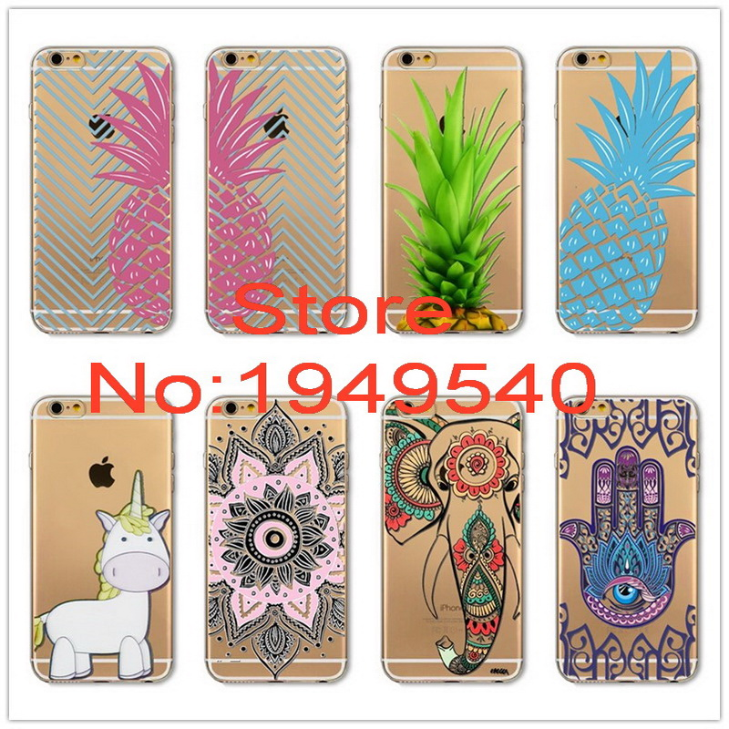 New Design Pineapple,unicorn,elephant,hand Pattern Phone Case For Iphone 5s 6 6s 6plus High Quality TPU+PC Material Shockproof