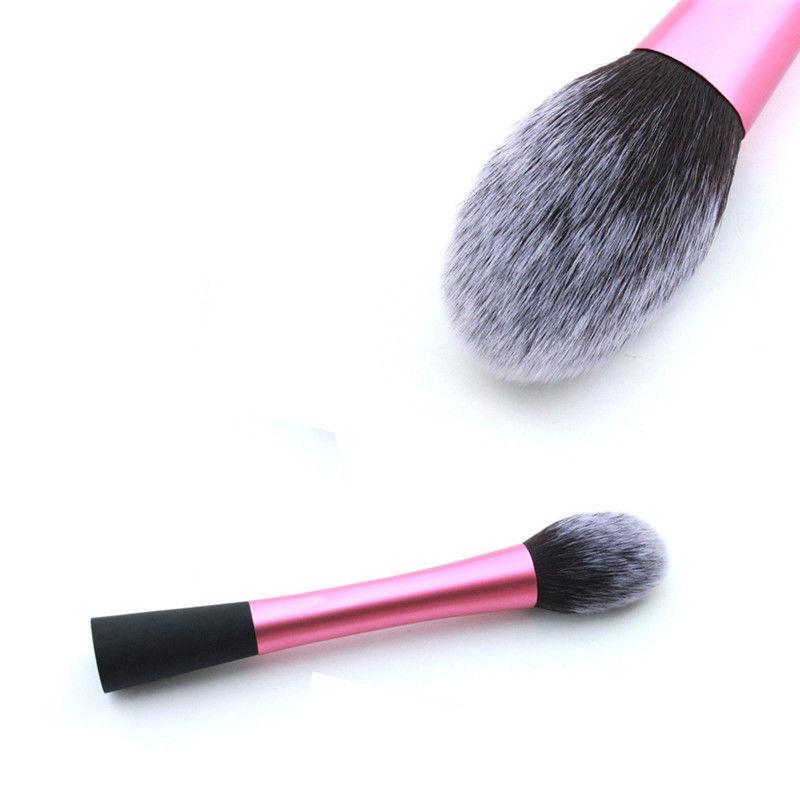 Pink Fiber Cosmetic Powder Foundation Long Aluminum Tube Brushes Cosmetics Professional Makeup Brush Set Hairbrush(China (Mainland))