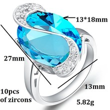 Luxury Brand Noble Big Emerald Turquoise Purple Ruby Dark Blue Rhinestone Colorful Simulated Diamond Rings Jewelry