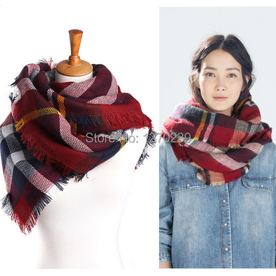 WJ58 New Arrival 2014 Women/MenTartan Scarf Poncho Scarves Shawl Winter Warm Red Plaid Blanket Square Scarf Free Shipping(China (Mainland))