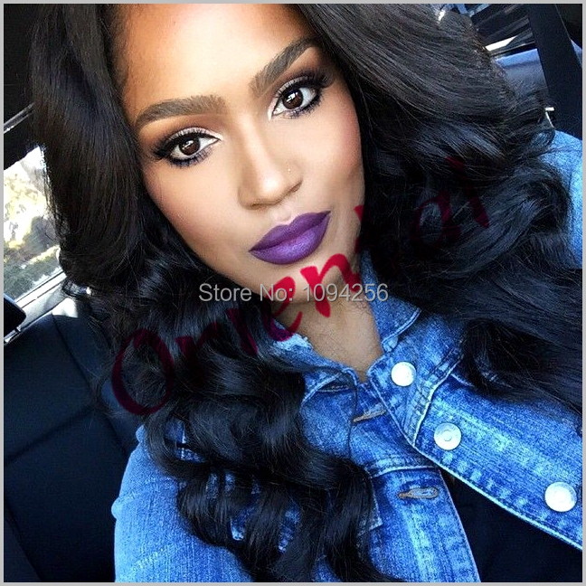 Free shipping in stock heat resistant new black color natural wavy wig cheap long glueless synthetic  lace front wig<br><br>Aliexpress