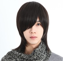 handsome korean style man hair fluffy wig Hot! boys wig New fashion Korean men's short 3 color  male hair Cosplay wigs  HTT241
